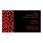 Abstract Graphic Pattern Bright Red and Black. Business Card