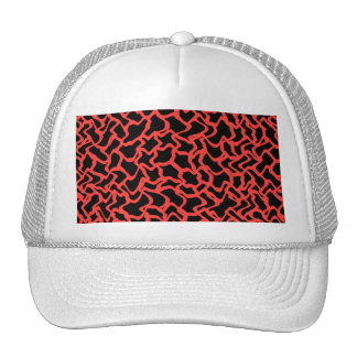Abstract Graphic Pattern Bright Red and Black. Trucker Hat