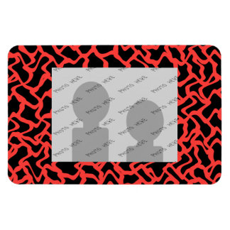 Abstract Graphic Pattern Bright Red and Black. Rectangular Photo Magnet
