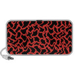 Abstract Graphic Pattern Bright Red and Black. Laptop Speakers