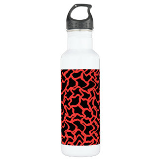Abstract Graphic Pattern Bright Red and Black. Water Bottle