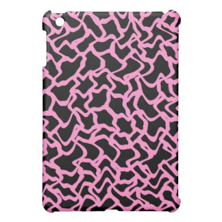 Abstract Graphic Pern Black and Bright Pink iPad Mini Cover