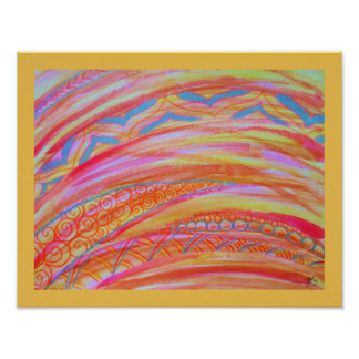 Abstract graphic watercolor and colored pencil poster
