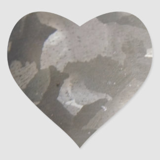 abstract gray and white metal heart sticker
