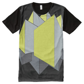 Abstract gray and yellow 3D blocks on black All-Over Print T-shirt