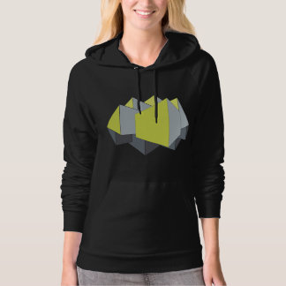 Abstract gray and yellow 3D blocks on black Hoodie