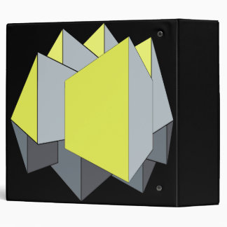 Abstract gray and yellow 3D shapes on black Binder