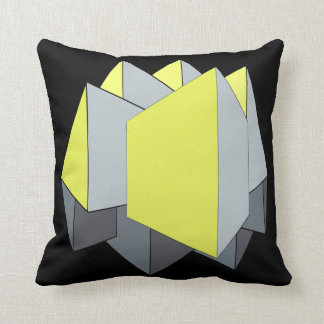 Abstract gray and yellow 3D shapes on black Throw Pillow