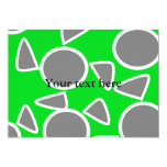 Abstract gray on green flowers 5x7 paper invitation card
