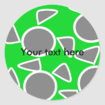 Abstract gray on green flowers classic round sticker