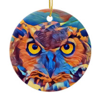 Abstract Great Horned Owl Ceramic Ornament
