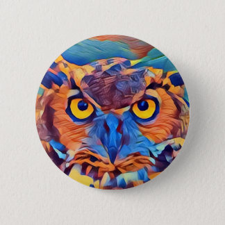 Abstract Great Horned Owl Pinback Button