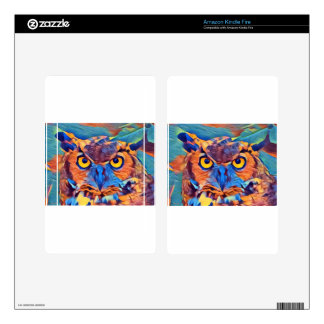 Abstract Great Horned Owl Skins For Kindle Fire