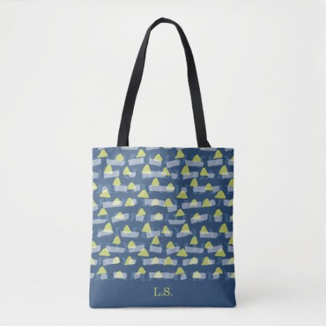 Abstract green and blue triangles and rectangles tote bag