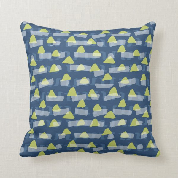 Abstract green and blue triangles rectangles throw pillow