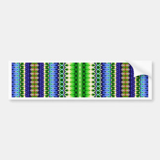 Abstract Green and Blue Tribal Chevron Pattern Bumper Sticker