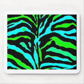 Abstract Green and Blue Zebra Print 2 Mouse Pad