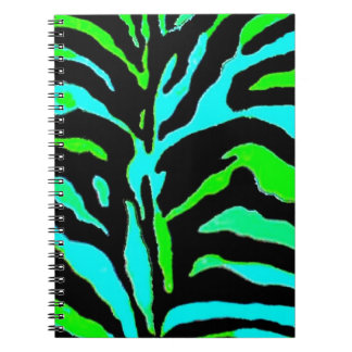 Abstract Green and Blue Zebra Print 2 Note Books