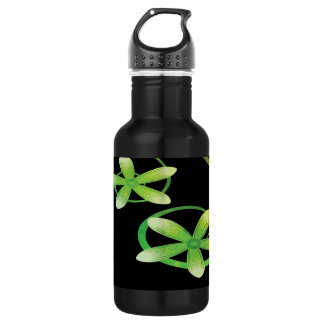 Abstract Green and Orange Flowers on Black 18oz Water Bottle