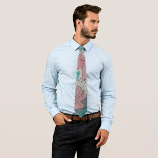 abstract green and pink stylized floral art tie