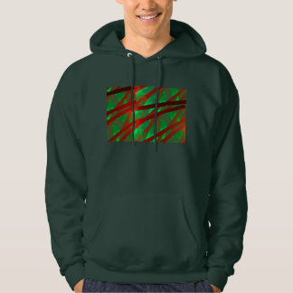Abstract Green And Red Modern Art Fractal Hooded Pullover