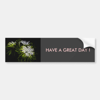 Abstract green and white floral design bumper sticker