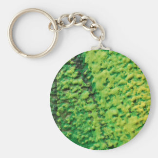 Abstract Green and Yellow Basic Round Button Keychain