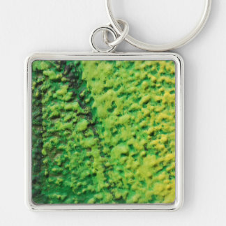 Abstract Green and Yellow Silver-Colored Square Keychain