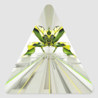 Abstract Green and Yellow Shapes Triangle Sticker