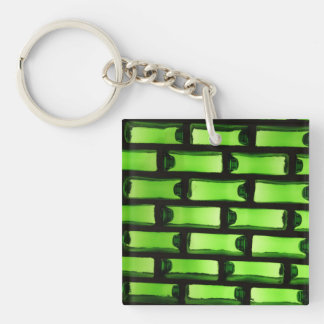 Abstract Green Bottle Pattern Keychain