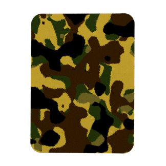 Abstract green brown yellow camouflage pattern magnet