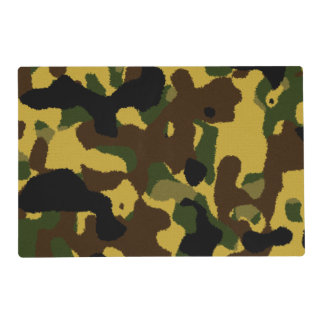 Abstract green brown yellow camouflage pattern placemat