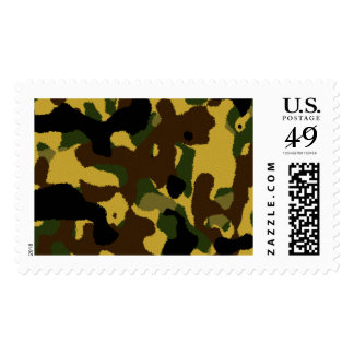 Abstract green brown yellow camouflage pattern postage