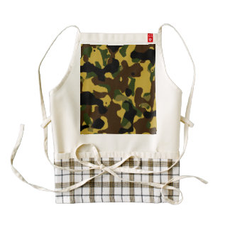 Abstract green brown yellow camouflage pattern zazzle HEART apron