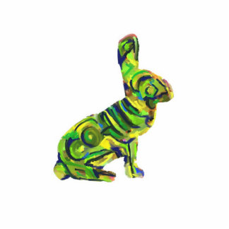 Abstract Green Bunny Magnet/Keychain/Etc. Statuette