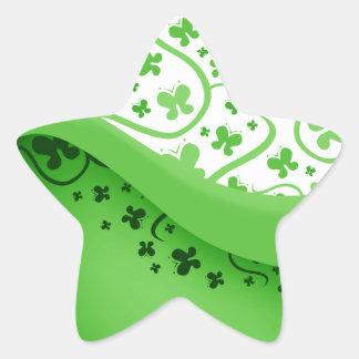 Abstract Green Butterflies Star Sticker