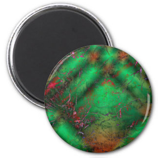Abstract Green Crackles 2 Inch Round Magnet