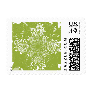 Abstract Green Dahlia Flower Painting Postage