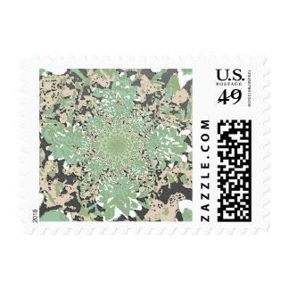 Abstract Green Dahlia Flower Postage