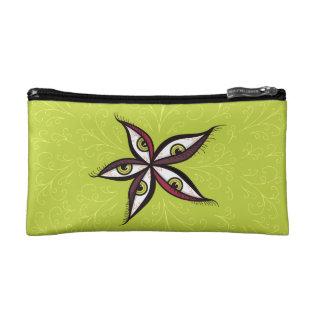 Abstract Green Eyes Flower Makeup Bag at Zazzle