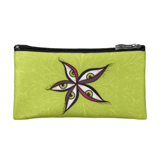 Abstract Green Eyes Flower Makeup Bag