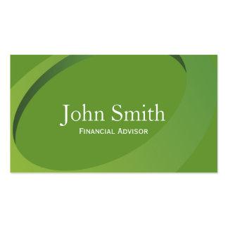Abstract Green Financial Advisor Business Card