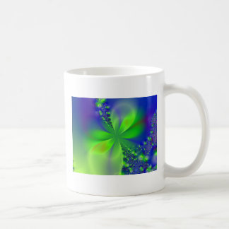 abstract green flower mugs