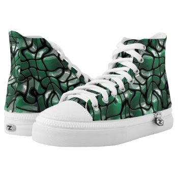 Abstract Green Gem Design High-Top Sneakers