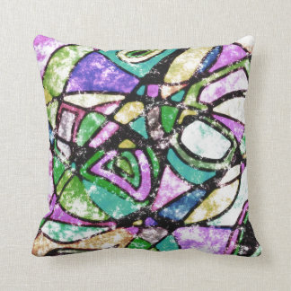 Abstract Green, Gold & Purple Distressed Look Throw Pillow