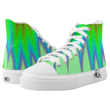 Abstract Green Grass High-Top Sneakers