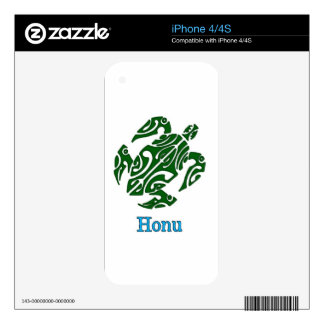 Abstract Green Hawaiian Sea Turtle on White Skins For iPhone 4
