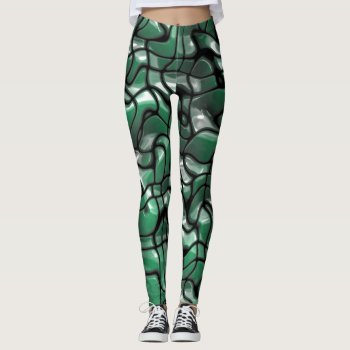 Abstract Green Jems Leggings