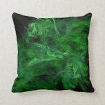 [ Thumbnail: Abstract Green Jumbled Filaments Throw Pillow ]