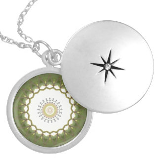 Abstract green lace Kaleidoscope Round Locket Necklace